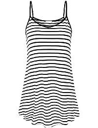 b9aabe85dd4 Tidecc Women Flowy Tops Spaghetti Strap V Neck Striped Tank Tops Sleeveless  Tunic Tops Cami Vest