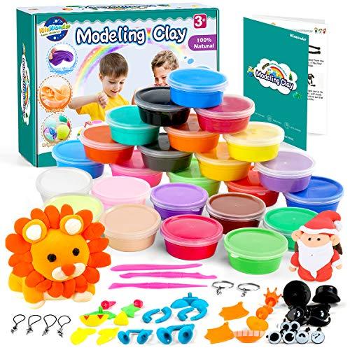 WinWonder Kit di Argilla per Bambini , Argilla Magica Ultraleggera Ultraleggera 24 Colori DIY Strumenti di Modellatura Non Appiccicosi, Ottimo Regalo per Bambini e Adulti