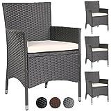 MIADOMODO – 2 x 4 Stühle, Gartenstühle, Terrasse aus geflochtenem Kunstharz (Farbe wählbar)