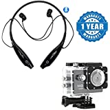 Captcha HBS730 Bluetooth Wireless Stereo Headset Amazing Sound Necklace Style With Action Camera 1080p 140 Degree Wide Angle Lens Compatible With Xiaomi, Lenovo, Apple, Samsung, Sony, Oppo, Gionee, Vivo Smartphones (1 Year Warranty)