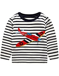 CHIC-CHIC T-shirt Pulls Haut Pull-over Top Sport Sweatshirt Bébé Garçon Fille Rayure Casual Mignon Cartoon Imprimée Avion