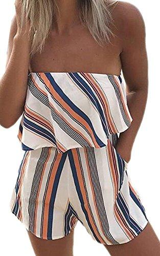 Minetom Femmes Été Bustier Combishort Combinaison Jumpsuit Romper Chic Court Epaule Nu Bustier Sans Manches Casual Plage Orange