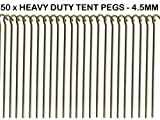 50 x HEAVY DUTY 9 TENT PEGS - 23CM x 4.5MM - MADE FROM GALVANISED STEEL - CURVED HOOK ON TOP - GREAT FOR SECURING TENTS / AWNINGS / GOAL NETS / POND NETTING by We Search You Save