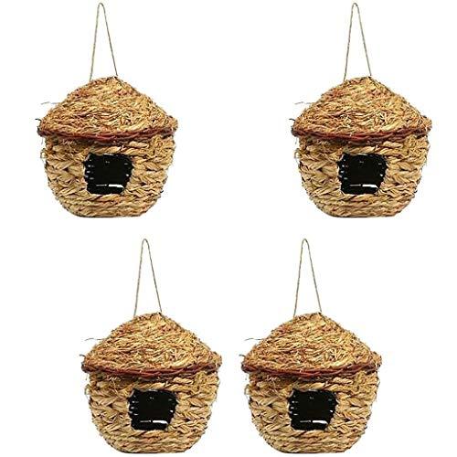 PanDaDa Lot de 4 Nid d'oiseaux en Paille Cage Suspendu Tissée à La Main Bird Nest pour Perroquet Canari Cockatiel Petit Animal Domestique - Diamètre: 11Cm,#A,4PC