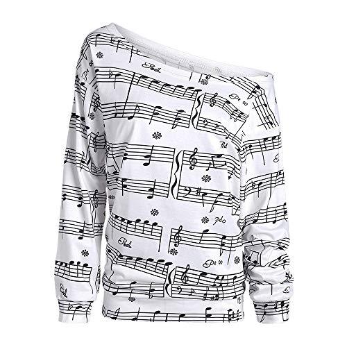 Langarmshirt Damen Bluse FGHYH Frauen kalt ab Schulter Hinweis drucken Langarm Pullover Shirt Top Bluse(L, Weiß)
