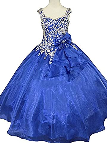 Huaibin Princess Girls' Crystal Beaded Ball Gowns Child Starps Pageant Dresses 14 Blue
