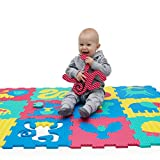 Foam Play Mat for Babies and Children | 12 EVA Foam Floor Tiles with Safari Animals in a Storage Bag | +20% Thicker and Softer Puzzle Mat for Crawling and Learning | 100% Safe, Non-toxic, Odorless
