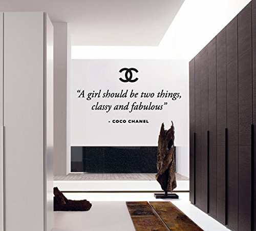 "Price comparison product image Chanel ""A Girl Should Be Two Things,  Classy and Fabulous"" Vinyl Wall Art Sticker Decal Mural Transfer Stencil (Black)"