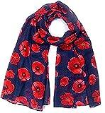Poppy Print Design Women Scarves Large Size (Navy)