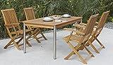 4 + 1 Garten-Garnitur / Terrassen-Möbel Set aus hochwertigem Robinien-holz bestehend aus 4 klappbaren Garten-Stühlen