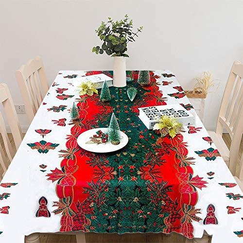 Tovaglia di natale poliestere rettangolare natale grafico 150 * 180 cm non sbiadisce per decorazione da tavola