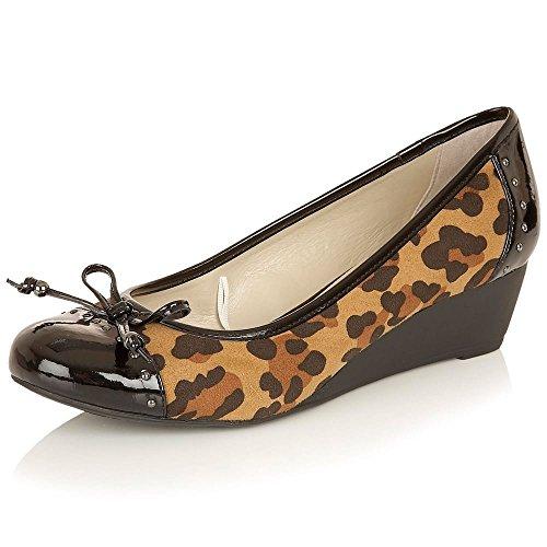 Lotus Quick Womens Wedge Heel Court Shoes 6 Leopard/Black