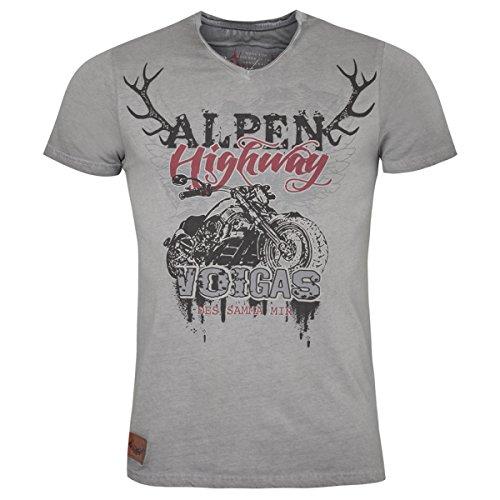 MarJo Trachten Hangowear Trachtenshirt Ulrico in Hellgrau, Größe:S, Farbe:Grau