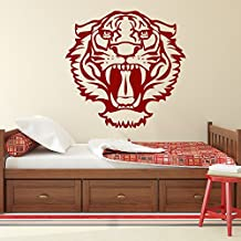 Tigre rugiente Retrato Animales salvajes vinilos decorativos Inicio decoración art pegatinas disponible en 5 tamaños y 25 colores X-Grande Blanco