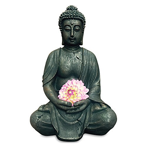 Estatua de Buda Decoraci/ón escultura Altura 40cm de resina de color antracita