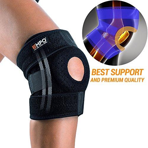 EMPO Kniebandage verstellbare Knieschoner für Damen und Herren - Knie Stütze zum Joggen, Training und verletzungs Erholung - einzigartigem Anti-Rutsch-Design und starkem Klettverschluss - Schwarz
