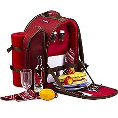 Idea Regalo - Apollowalker Set di attrezzatura da picnic per 2 persone, con zaino da picnic, borsa termica, stoviglie e coperta in pile, colore rosso