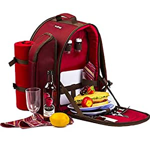 Apollowalker Set di attrezzatura da picnic per 2 persone, con zaino da picnic, borsa termica, stoviglie e coperta in pile, colore rosso