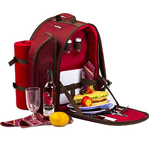 Apollowalker Set di attrezzatura da picnic per 2 persone con zaino da picnic borsa termica stoviglie e coperta pile colore rosso