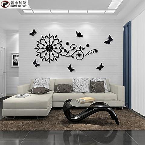 YANYANGXIN Moderne bunte stummer Wanduhr Home Office Decor Geschenk für Küche Wohnzimmer Schlafzimmer Schmetterling Wanduhr / Sonstige / Schwarz