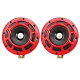 Vheelocityin One Year Warranty Red Ring High Quality Motorcycle Horn Set of 2...