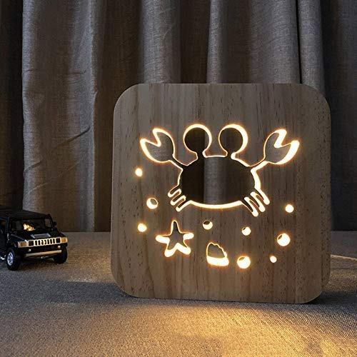 Reuvv Holz LED Nachtlicht Katze Tiere Form 3D USB Lade- Tischlampe Dekoration für Schlafzimmer Weihnachten Geburtstag Geschenke Spielzeug für Kinder Jungen Mädchen - Krabbe -