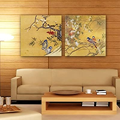 Gallery Canvas Art-2 Piece Canvas Prints Traditional Chinese Painting Split Canvas Picture of Art Wall Canvas Artwork, Framed, Ready to Hang #14-208