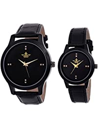 Swisso Black Dial Analogue Watch for Men & Women - Pack of 2 (SWS-1225-1226-Blk)