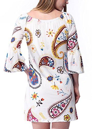 Shinekoo Femmes d'été Taille Plus Épaules Floral Mini Robe W550 blanc