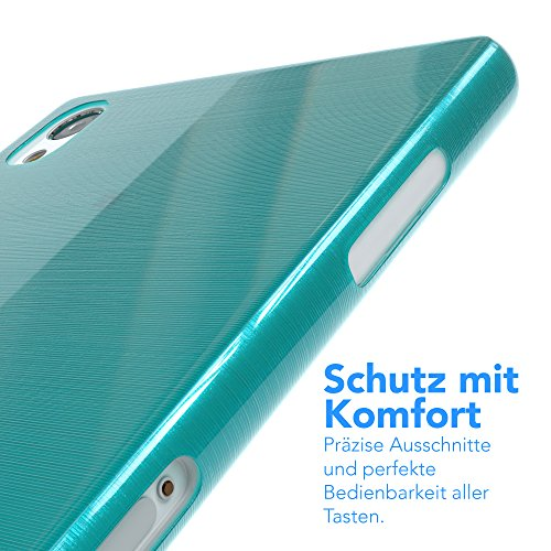 "Sony Xperia Z3 Hülle - EAZY CASE Slimcover ""Clear"" Handyhülle - Schutzhülle als Smartphone Case in Schwarz / Anthrazit Brushed Hellblau"