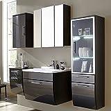 Komplett Badezimmermöbel Set Hochglanz anthrazit Waschtisch Spiegelschrank Unterschrank Hängeschrank Hochschrank B x H x T: 190 x 200 x 49,5 cm