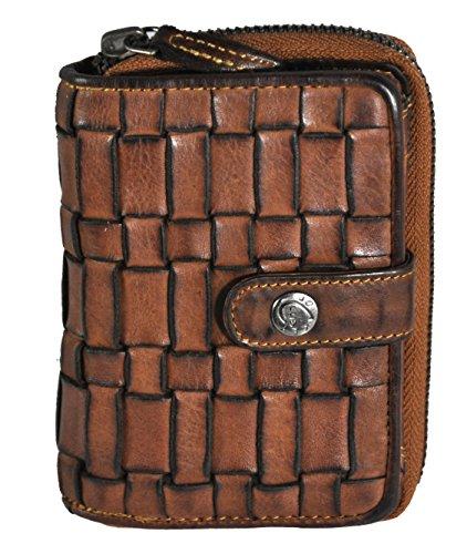 Damen Geldbörse Midi Voll-Rind-Leder Jockey Club Shabby Chic Used Optik Flecht Design cognac braun (Leder-geldbörse Geflochtenes)
