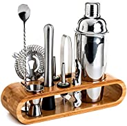 Bartender Kit: 11-Piece Bar Tool Set with Stylish Bamboo Stand - Perfect Home Bartending Kit and Martini Cockt