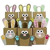 DIY Osterhasen Tüten mit Henkel - Bunte Geschenktüten zu Ostern zum selber Befüllen - zum Verpacken von Geschenken für Kinder und Erwachsene