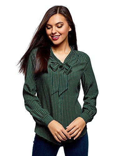 oodji Ultra Mujer Blusa de Viscosa con Lazos, Verde, ES 44 / XL
