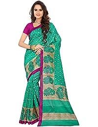 Cotton Green Color Bhagalpuri saree With Blouse