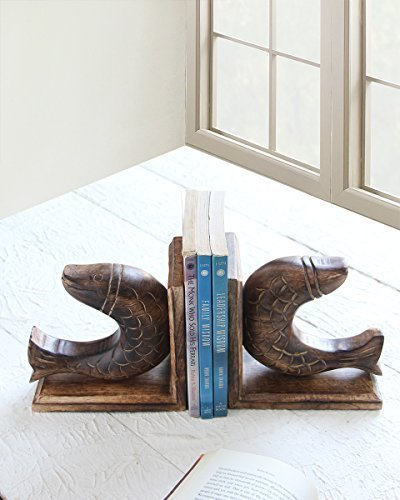 storeindya, Wooden Bookends Book Cd Dvd Stand Supporter Holder With Handcrafted Animal Shaped Book Shelf For Home Decor (Fish) - Diwali Gifts