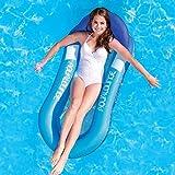 JCT Flotador Inflable Hamaca de Agua Flotante para Piscina,de Malla Tumbona Inflable del Agua Hinchable Colchón de Aire Adultos Niños (Azul, 160X84cm)