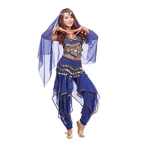 1001 Nacht Kostüm - Best Dance, Bauchtanz-Kostüm-Set, 4-teilig, mit Oberteil, Hose, Hüftschal, Schleier und mit Münzen