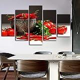 LZLZ 5 Dipinti consecutivi Stampe su Tela a Tema Decorativo da Cucina a 5 Pannelli Stampe su Tela Pomodoro e Peperoncino realista modulari immaginano Decorazioni murali