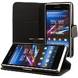 ECENCE Sony Xperia Z1 compact mini Cartera Funda Wallet Case Cover + protector de pantalla incluido negro 41040101