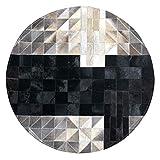 GFF Alfombras Alfombra Redonda Cuero Mosaico Blanco y Negro Dormitorio Colgar en la Cesta Silla de la computadora Estera de guardarropa para Piano Tapete 1/1.2m (Color: # 1, Tamaño: 1m)