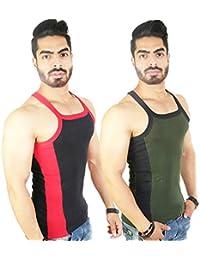Zimfit Men's Gym Vest 112(Black_Green)