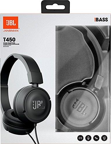JBL T450 On-Ear Kopfhörer Ohraufliegend Leicht mit 1-Tasten-Fernbedienung und Mikrofon Kompatibel mit Apple und Android Geräten – Schwarz - 7