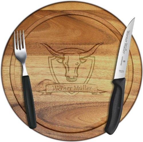 Premium Steak-Set mit Wunschgravur, Steakmesser + Gabel + Holzbrettchen Akazie 30cm Victorinox Steak-set