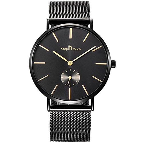 ünne Uhr mit Legierungs Edelstahl-Bügel 30M imprägniern Quarz Herren Uhr(Schwarz) ()