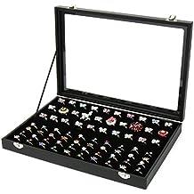 Joyero para anillos y pendientes con capacidad para 100anillos Real madera anillo de terciopelo suave almohadillas