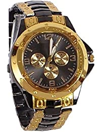 Freny Exim Luxurious And Unique Black Golden Belt Black Dial Mens Analog Watches For Boys
