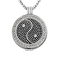 Quiges - 33mm Silver Plated Zirconia Coin Locket with Necklace and Coin #29