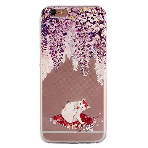 iPhone 6 Hülle, Voguecase Silikon Schutzhülle / Case / Cover / Hülle / TPU Gel Skin für Apple iPhone 6/6S 4.7(Teppich 12) + Gratis Universal Eingabestift Weiß Katze 09